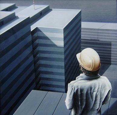 Der Beginn der Eiszeit, 1976, Acryl auf Leinwand, 90/90 cm