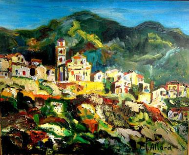 Montemaggiore, peinture à l'Huile de Claire Allard