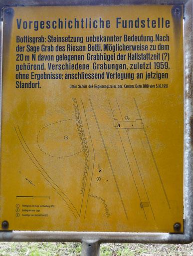 Das Bottisgrab heute - Hinweisschild. Foto Georg Ledergerber.