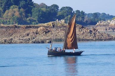 Un voilier ancien noir à voile ocre s'approche des rochers de Bréhat, le ciel est bleur et la mer calme