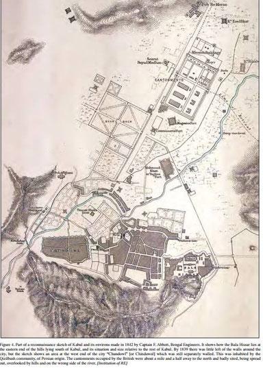 بخشی از سکچ های اکتشافی (استخباراتی) کابل و حومهاش سال 1842 بهوسیله کپتان ف. اببت، از انجنیران سلطنتی بنگال
