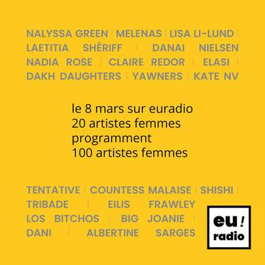 Le 8 mars sur euradio 20 artistes femmes programment 100 artistes femmes