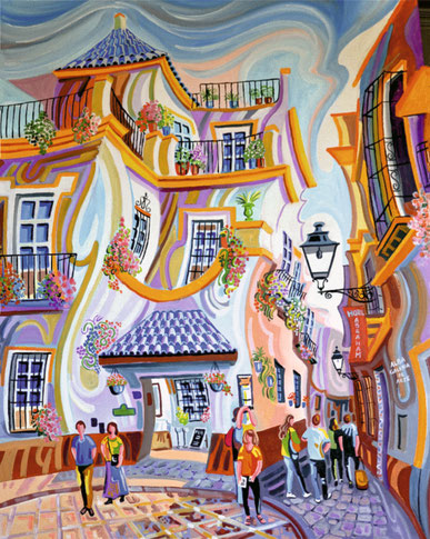 PLAZA DE DOÑA ELVIRA (SEVILLE). Huile sur toile. 92 x 73 x 3,5 cm.