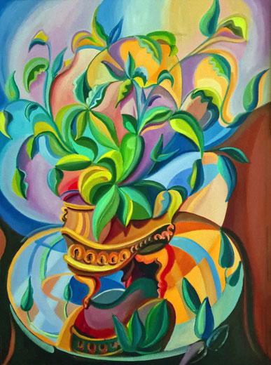 MACETERO DORADO (MADRID). Oil on canvas. 73 x 54 x 3,5 cm.