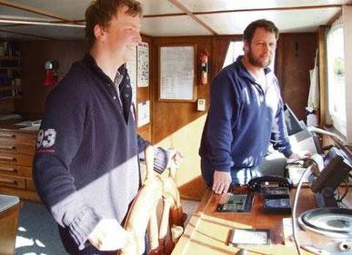 Patrick le Plat und Kapitän Jens Wilbertz (rechts)