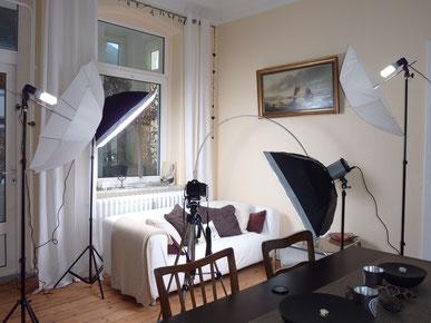 Mobiles Fotostudio in Braunschweig, eingerichtet mit mobiler Blitzanlage