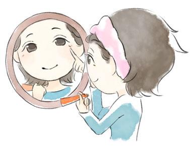 しわ・たるみは、日焼け止めを塗って紫外線からヒフを守る、押さえたり、こすったりしない、正しい保護する化粧を実践しましょう
