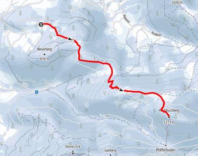 Route vom Parkplatz Rieserberg über die Grünburger Hütte auf den Hochbuchberg