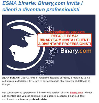binary.com accetta solo trader professionisti con residenza europea