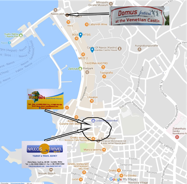 Map of Naxos Chora - Ticket sale point for Naxos Griekenland experience