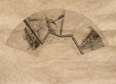 「屏風の虎」 扇形(和紙40x56cm)  銅版画
