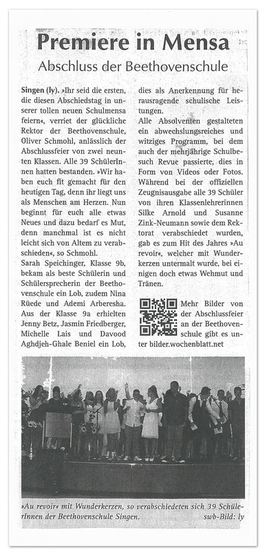 Premiere in Mensa - Abschluss der Beethovenschule