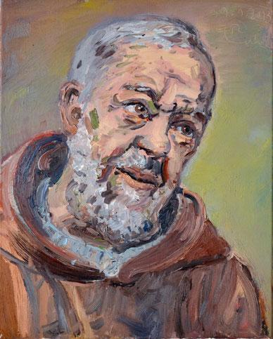 Padre Pio (Santo), 40cm x 50cm, Öl auf Leinwand, 2011