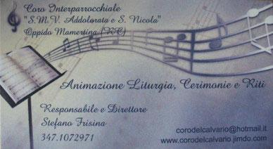 Bigliettino da visita del Coro Interparrocchiale