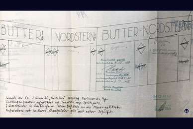Butter-Nordstern Berlin. Entwurfszeichnung der ehemaligen Filiale Berliner Straße (Tempelhofer Damm).