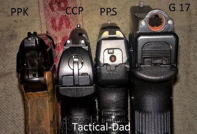 Vergleich der Breite von den Pistolen: Walther PPK, Glock 17, Walther CCP und Walther PPS.