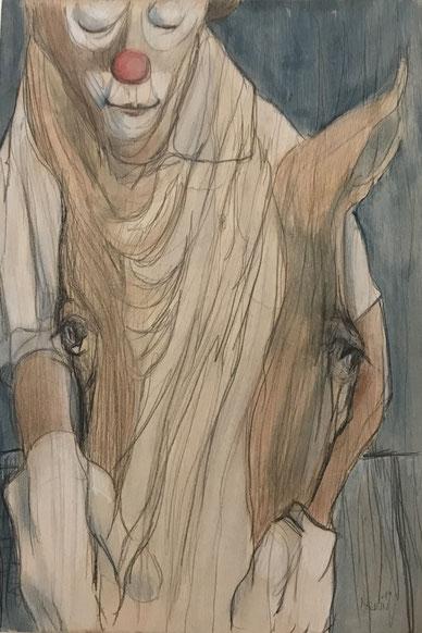 Der Freund des Clowns / Buntstifte u. Acryllasur auf Birkensperrholz / 60 x 50 cm