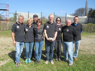Alfeld 1 Regionalligateam: Karl und Angela Hahlbohm, Michel Schille-Schumacher, Annette Glüsen, Frank Schomburg, Walburga Schumacher, Manfred Hörding und Wolfgang Koch.