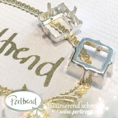 www.perltrend.com Luzern Schweiz Onlineshop Schmuck Jewellery Jewelry Design Style Schmuckdesign Fassung Viereckig viereck Swarovski Crystals versilbert silberfarben Princess Square 12mm