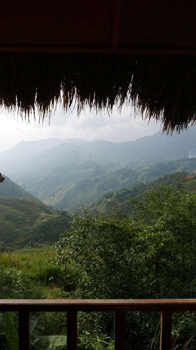 Blick auf die Reisfelder vom Hotel Sapa Eco Home