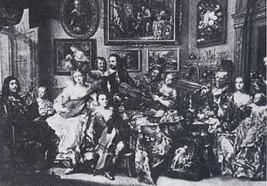 ▲ ヨーロッパにおいて、17世紀ごろ使用されたリュート(Laute)       中央左寄りの白衣の女性が演奏