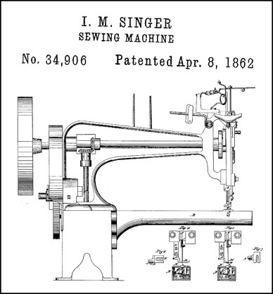 For sewing some kinds of work such, for example, as boot-legs, it is necessary to sew seam both longitudinally and crosswise. Patented in England, May 9, 1861