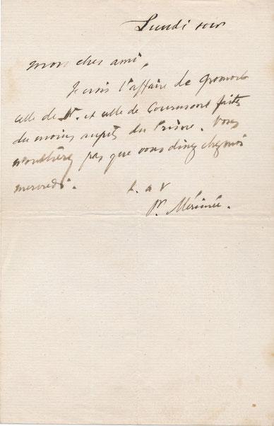 Prosper MÉRIMÉE (1803-1870), écrivain, archéologue, historien billet autographe signé