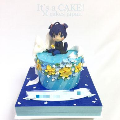 ブルーと水仙がイメージのキャラクターお誕生日ケーキ🎂 #キャラクター #水仙 #青色 #イメージケーキ #スイセン #月岡紬 #寒色系 #漫画 #character #charactercake #narcissus #flowers #blue #A3 #tsumugi #cake #torte #gateau #誕生日ケーキ #ケーキ #🇯🇵 #game #gamecake #manga