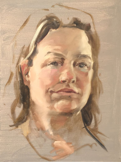 Self portrait, oil on canvas 30x40 cm by Philine van der Vegte