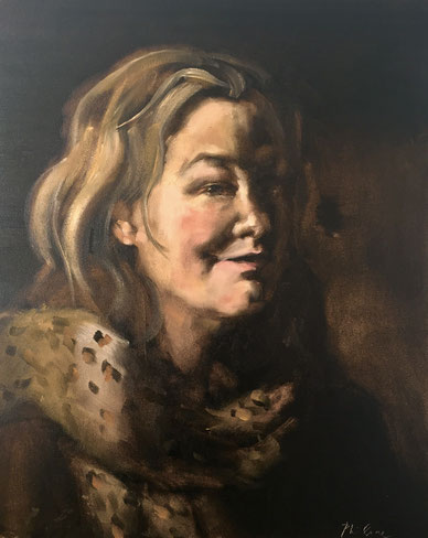 """Self portrait with leopard scarf"", oil on canvas 40x50 cm by Philine van der Vegte"