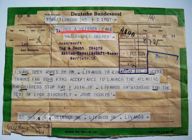 Orginal Telegramm an die Taufpatin Frau Lissy Weisser