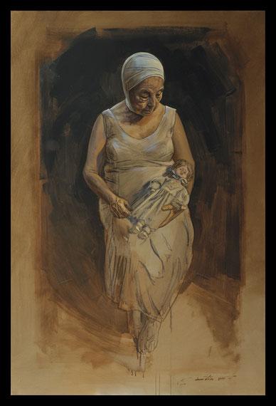 La Dame à la poupée - Huile sur toile 146X97