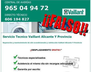 Falso servicio técnico Vaillant Alicante