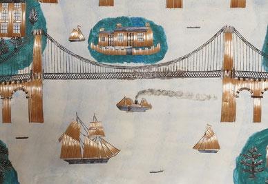 North Wales, Menai Strait, Suspension Bridge, naive, straw work