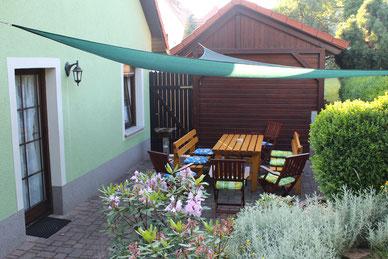 Terrasse - Unterkunft - Ferienwohnung  Elstra - Neschwitz - Königswartha