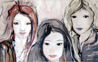 Les trois soeurs, aquarelle, D.Petit