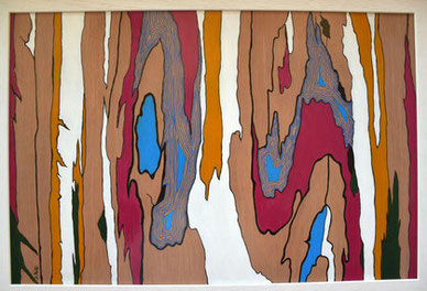 Méandres colorées n°2 , acrylique sur bois