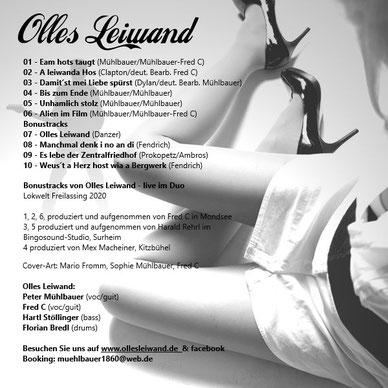 CD von Olles Leiwand, der Austro Pop Band aus Bayern und Salzburg