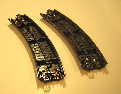 Vergleich C-Gleis rechts und Alpha Gleis 2000 links.