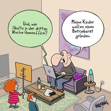 Cartoon Karikatur Hilbring zu Homeoffice und Betriebsrat