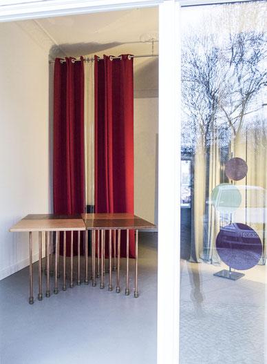 Table  MILLEPIEDI, A.F.Borzacchini design, reclaimed table tops, reuse, copper pipe legs, calf leather cover