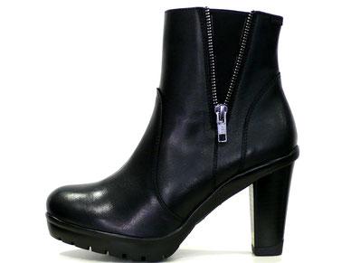 botín callaghan caña media piel color negro, cremallera exterior, tacón y plataforma adapataction