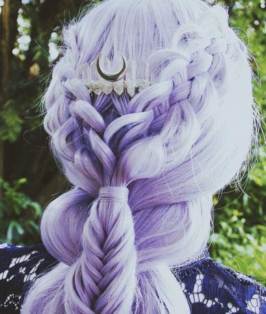 Luna Corvus Art, peigne, accessoire, lune, métallique