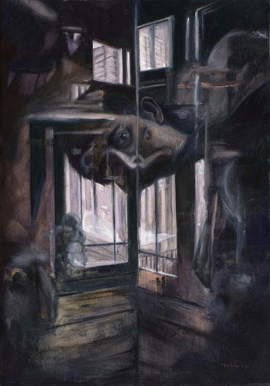 En el museo 2006, óleo sobre lienzo 100X70 cm