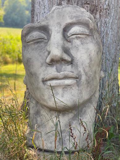 Steinkopf an einem Baum gelehnt