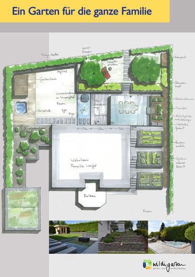 Gartenplan Gartenumgestaltung Terrassengarten Dunningen
