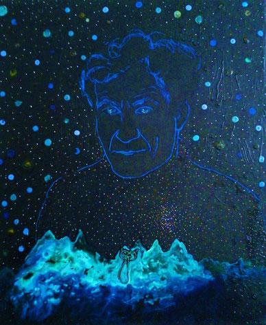 """Étienne Klein / Encre, acrylique, acrylique fluorescent.""""Une étoile alpine dans l'Univers"""""""