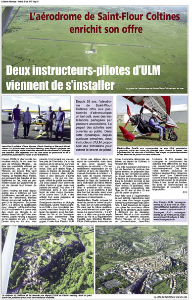 Article de Presse sur Azur Passion ULM