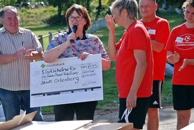 Spendenscheck Sandra Minnert Fussballcamps Hessen