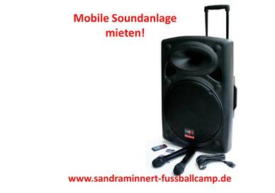 Mobile Soundanlage mieten Musikanlage Verleih Karaoke Anlage mieten Torwand aufblasbar Eventmodule Verleih Tischkicker